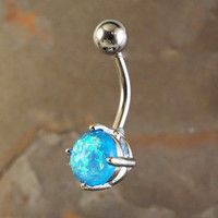 Blue Opal Belly Button Jewelry Ring Synthetic Opal