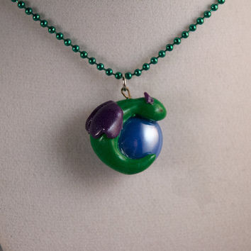 Green and Purple Gem Dragon Necklace