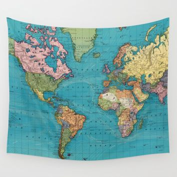 World Map Tapestry Collection By BravuraMedia | Society6
