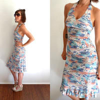 Pastel Scenery Summer Halter Dress