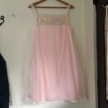 Vintage lace and embroidered pink nightgown