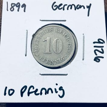 1899 German Empire 10 Pfennig Coin 9126