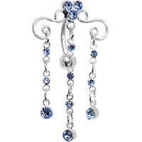 Aqua Gem Chandelier of Bubbles Top Mount Belly Ring | Body Candy Body Jewelry