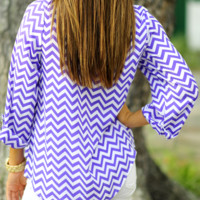 Chev With It Chevron Top: Purple | Hope's