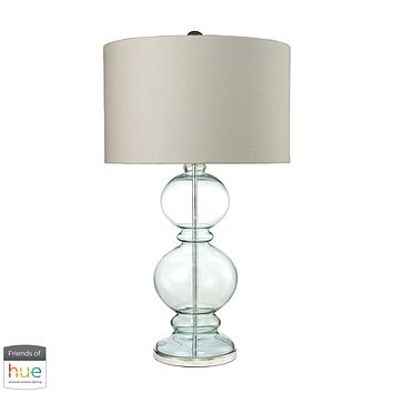 Curvy Glass Table Lamp in Light Blue with Textured Linen Shade - with Philips Hue LED Bulb/Bridge