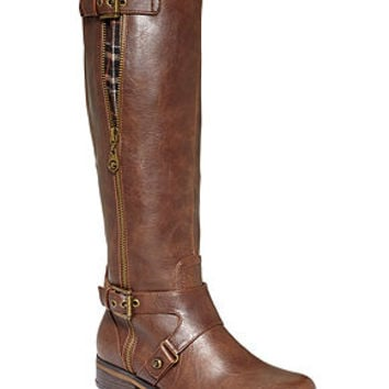 G by GUESS Women's Hertlez Tall Shaft Wide Calf Riding Boots