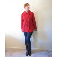 Vintage 60s Cherry Red Knit Pea Coat. Gold Buttons. Size S.