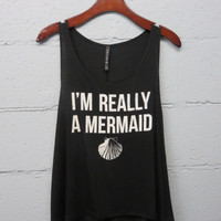 I'm Really A Mermaid Top: Black
