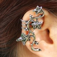 Yazilind Tendrils Twine Leaves Silver Plated Alloy Ear Cuff Earrings