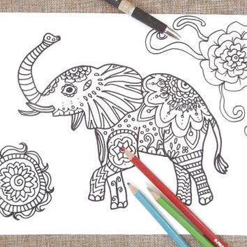 elephant coloring page adult animal totem yoga zen therapy stress relief download colouring doodle doodling printable print lasoffittadiste