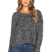 LA Made Lightweight Cable Pullover Sweater in Raven