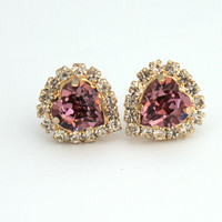 Heart stud Crystal pink earring - 14k plated gold post earrings real swarovski rhinestones.