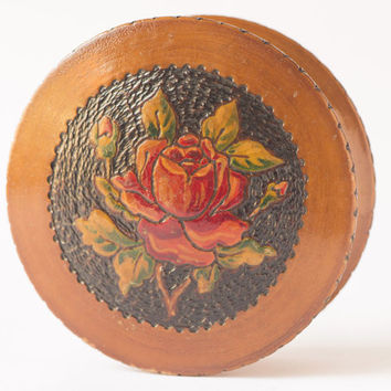 Vintage jewelry box wooden treasure jewelry holder hand carved rose wedding gift Soviet wood carvings