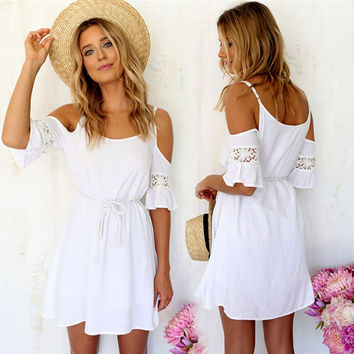 2018 Newest!! Women Summer Fashion Sweet Casual Lace White Off-shoulder Loose Strap Mini Dress