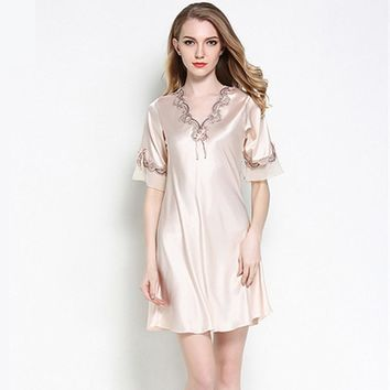 Women Silk Satin Nightgown Short Sleeve Sleepshirt V-neck Night Shirt Elegant Night Dress Lace Sleeping Dress Home Dress