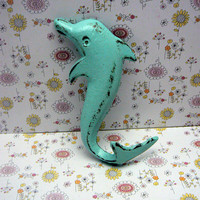 Dolphin Cast Iron Wall Hook Cottage Chic Nursery Tropical Beach Blue Nautical Lakehouse Bathroom Leash Key Jewelry Sea Creature Lake
