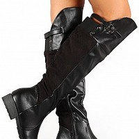 COMPOSE-3-10-4 Buckle Strap Riding Boots Women Boots BLACK Bare Feet Shoes