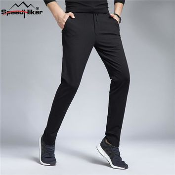 Speed Hiker Autumn Mens Pencil Pant Casual Elastic Waist Slim Thick Anti wrinkle male Long Trousers pants Knitted pants 30-40