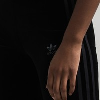 adidas Women's Mid Rise Stretchy Waist Velvet Three Stripe Logo Legging in Black