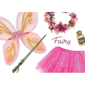 Girls Fairy Costume Box with Wings Tutu Wand Flower Crown and Pixie Dust