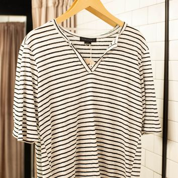 Classic Striped All Linen Top, White/Black | Sanctuary
