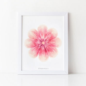 Pink flower wall art print, Flower art Bedroom decor, Pink home decor art print, Flower decor Pink art print, Digital download PRINTABLE art