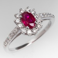 Ruby Engagement Ring w/ Diamond Halo in 14K White Gold