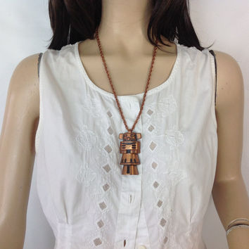 Southwest Kachina Copper Pendant Necklace Bell Trading Post Albuquerque New Mexico Fred Harvey Railroad Jewelry