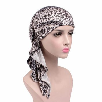 Ladies Stretch Muslim Hair Loss Head Scarf Head Wrap Turban Cancer Hat Chemo Cap QDD9094