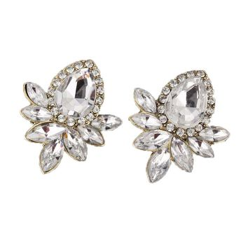 Rhinestone Resin Sweet Metal with Gems Stud Earrings
