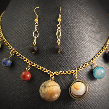 Solar System Necklace and Asteroid Earrings Set: Gold // Space, Planet, & Science Themed Jewelry // Gemstone Astronomy Gift Graduate Teacher