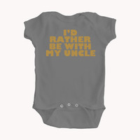 "Baby Boy Bodysuit with Funny ""I'd Rather Be With My Uncle"" Design in Mustard Yellow Lettering - Baby Clothes - Great Colors - Baby Gift"