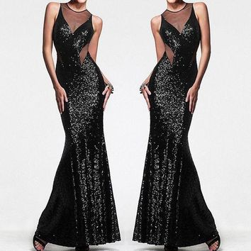 Formal Sequin Wedding Bridesmaid Long Evening Cocktail Ball Prom Gown Maxi Dress