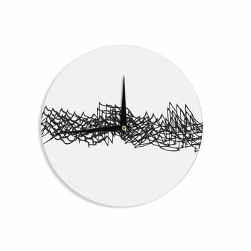 Electric Waves - Black White Abstract Digital Wall Clock