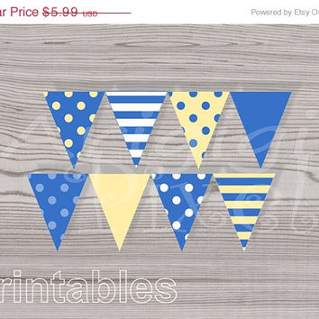 WEEKEND SALE 50% OFF Printable Pennant, Blue Yellov Banner, Polka Dot, Striped, Simple Color, Birthday Party, Baby Boy Shower, Pdf file, in