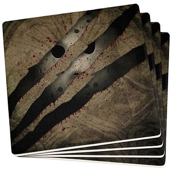 Halloween Horror Movie Mask Slasher Attack Set of 4 Square Coasters