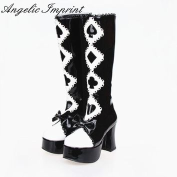 Alice in Wonderland Series Black and White Gothic Queen High Heel Platform Lolita Cosplay High Boots