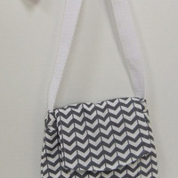Small Messenger Bag - made by me with grey chevron  fabric - crossover purse