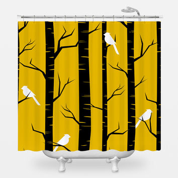 Birch Birds Shower Curtain