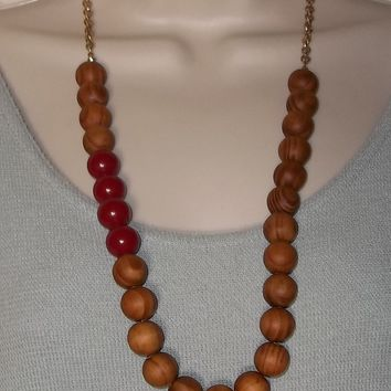 "Vintage Large Red Acrylic & Wooden Beaded Gold Tone 26"" Statement Necklace"