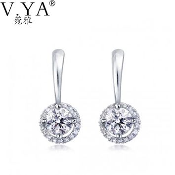 S925 Solid Silver Stud Earring Fine Jewelry 100% Real