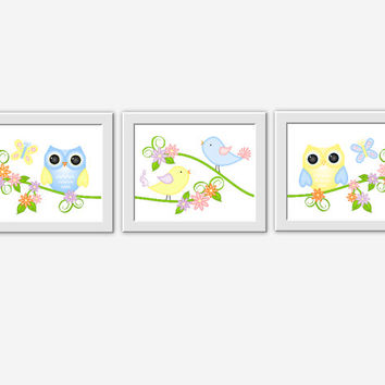 Owl Baby Nursery Wall Art Butterflies Birds Baby Nursery Prints Yellow Blue Pink Purple Baby Girl Nursery Girl Room Decor Baby Nursery Decor