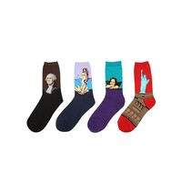 4-Pack Oil Painting Cotton Crew Socks