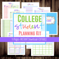 Student Planner-College Planner, Homework Planner, Organizer-11 Sheets-Bright-INSTANT DOWNLOAD & EDITABLE