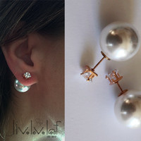 Cz and faux pearl double faced earrings, Bridal jewelry,  trendy fashion stud earrings inspired by tribal mise en dior wedding jewellery