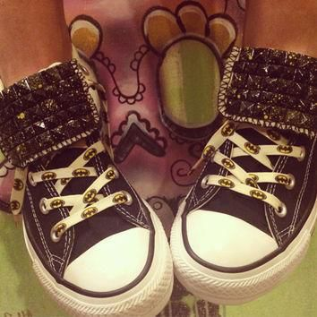 Batman Inspired Studded Converse High Tops! - Custom Chuck Taylors. ALL SIZES & COLORS