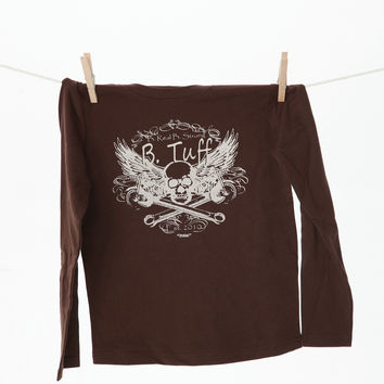 Brown Long Sleeve Cotton T