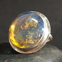 Dominican Blue Crystal Clear Amber Big Round Ring Sterling Silver 925 authentic purple Caribbean fossil 8g 40ct Size 7.25 7.5 OOAK rare