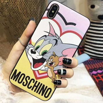"MOSCHIN Fashionable Cute ""Tom And Jerry"" "" Donald Duck"" Pattern Mobile Phone Cover Case For iphone 6 6s 6plus 6s-plus 7 7plus 8 8plus X XsMax XR"