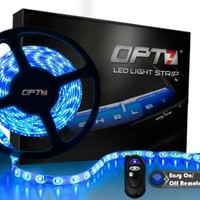 OPT7 Automotive LED Light Strip & Connectors - 300-Advanced Bright SMDs - 20 LED Strips - Blue w/ Remote